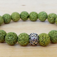 11 mm Khaki Green LAVA BRACELET 10 mm Women Natural Bracelet Chakra Energy Yoga Bracelet Lava Meditation Healt Charms Bracelet Energy Lava