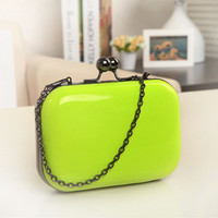 Freeship candy-color Preppy New 2014 women fashion clutch hasp evening bag / girls Cute chain shoulder bag messenger bag