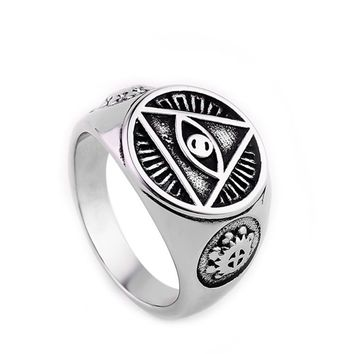 ZMZY Casting Vintage Stainless Steel All Seeing Eye of God Ring Retro Religious Christian Signet Cocktail Biker Signet