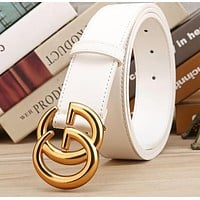 GUCCI Woman Fashion Smooth Buckle Belt Leather Belt WHITE