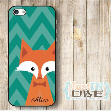 Cute Animal Fox Monogram Personalized iPhone 4/4s/5/5s Case,Chevron Animal Fox Samsung Galaxy s3/s4 Phone Cover,Fox Initials Monogrammed
