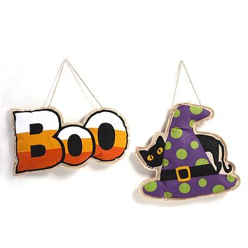 """Burlap Halloween Hanging Decorations with """"Boo"""" and """"Black Cat"""" Motif - 12 Units"""