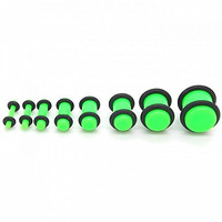 1 Set of Acrylic Flesh Tunnel Ear Plug Expander Stretcher Piercing Green with O-Rings 14-000 Gauge