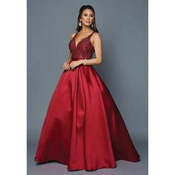 Burgundy Beaded Top Long Prom Dress with Cut-Out Back