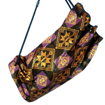 Vintage African Backpack,  Duffle Bag, African Wax Print Duffel Bag Ankara Cloth Bag Carry On Tote African 90s Hip Hop Afrocentric Slingback