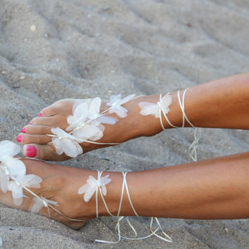Organza butterfly beach wedding barefoot sandals, bangle, wedding anklet,nude shoes