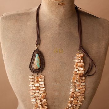 J. Forks Pearl and Turquoise Necklace