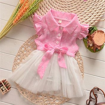 Elegant Girl Dress Girls 2016 Summer Fashion Pink Lace Big Bow Party Tulle Flower Princess Wedding Dresses Baby Girl dress