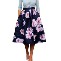 HimanJie Women Peach Floral Print Elastic High Waist Pleated Long Midi Skater Skirt 3 Colors In Stock 2016 Spring New