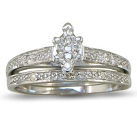 SuperJeweler Marquise Diamond Bridal Engagement Ring and Wedding Band in Sterling Silver