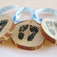 Baby Shower Favors, Its A Boy, Wood Baby Shower Favors, Baby Foot Prints, Its A Boy Favor