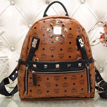 MCM New Women Men Backpack Bag Shoulder Bag Print Satchel