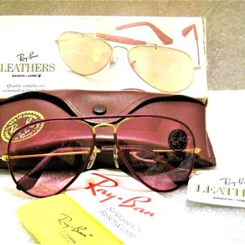 Ray-Ban USA *NOS Vintage *B&L Aviator Leathers L0034 Rose-*Changeable Sunglasses