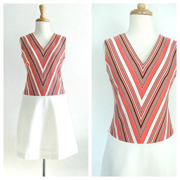 1970's Chevron Dress / drop waist dress / 70s sundress / orange dress / mod shift dress / summer fashion / small medium