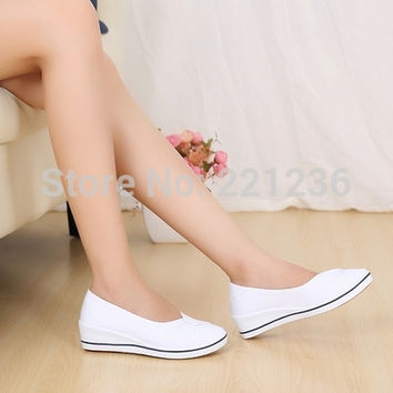 Free shipping women work shoes women loafers white and black 35-40