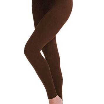 Solid Jersey Leggings - Brown