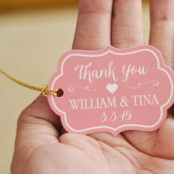 Wedding Thank you Tag / Personalized Thank You Tags, Vintage Ornate Shape