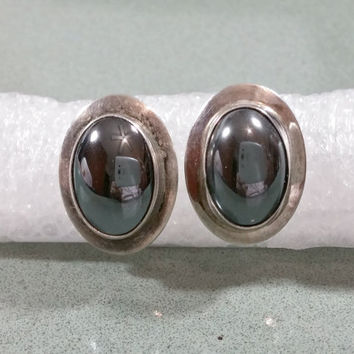 Vintage Navajo Native American Signed Nel J Sterling Hematite Earrings Nathaniel Johnson Sterling Silver Stones with Calming Properties