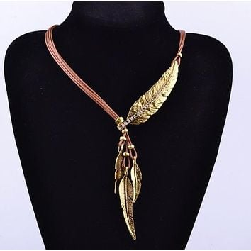 Hot Selling Bohemian Style Jewelry Ethnic Feather Choker Necklace Multilayer Leather Vintage Summer BOHO Accessories For Women
