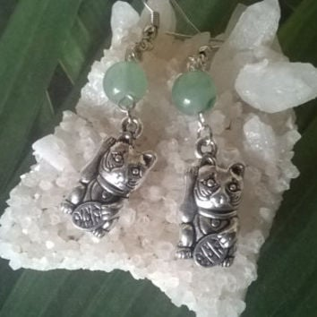 Green Aventurine gemstone earrings artisan Maneki Neko Lucky beckoning Cat waving kitty natural stone dangle bead earrings crystal jewelry
