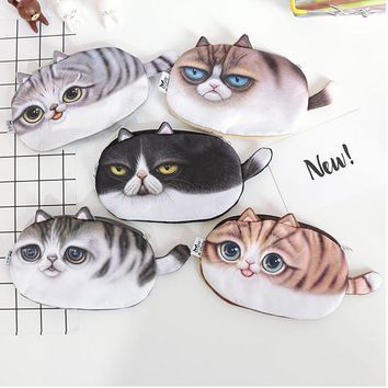 2017 New Kawaii Cats Zipper Pencil case Cute 3D Plush Pencil box Large Capacity School Supplies Stationery Hot Pen 04896