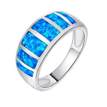 Garilina Pretty jewelry Blue Fire Opal 925 Sterling Silver Wedding Party Engagement Love womens ladys rings R158