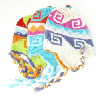 "8 Assorted Reversible Kids Alpaca Wool ""Chullo"" Hats  Beautiful Colors ( $ 5 Unit Price)"