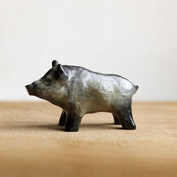 Animal Totem Wild Boar Pig, boar aper totem figurine, grey home decor, tiny zoo, brown and grey, wild animals