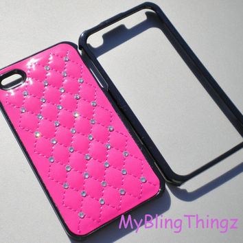 Quilted Hot Pink Leather Black Frame Case Cover / Clear Crystal Diamond Rhinestone Bling for iPhone 4 4G 4S handmade w/ Swarovski Elements