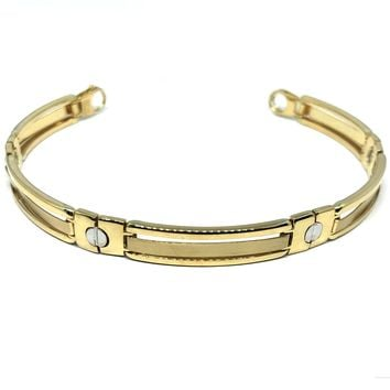 14k Yellow And White Gold Nail Head Mens Bracelet, 8.25""
