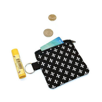 Fleur-de- lis fabric zippered change purse, coin pouch.