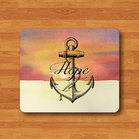 Quote HOPE And ANCHOR Art Sky Mouse Pad Drawing Navy Ship Signal Printed MousePad Desk Deco Work Pad Mat Rectangle Personal Office Gift Men