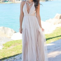White and Nude Tulle Maxi Dress with Criss Cross Back