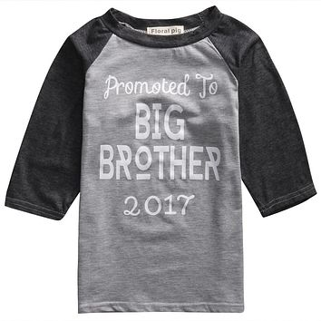 Summer Baby Kids Boy T-shirts Short Sleeve Tops Letter Print Promoted to Big Brother Cotton T-Shirts2-7Y