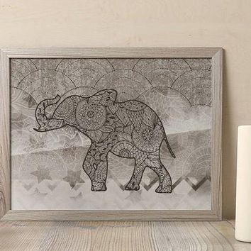 Henna Elephant Indian Poster Bohemian Art Print Poster With Lotus Flower Design no frame 20x30 Large