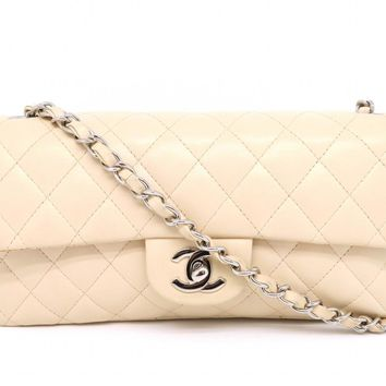 Chanel Quilted Lambskin Leather SHW Chain Shoulder Bag Apricot 8453