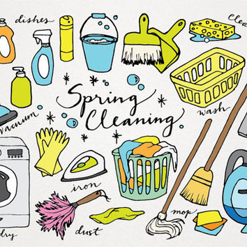 Spring Cleaning clipart - hand drawn clip art, laundry clipart, vacuum clipart, cleaning illustrations, instant download, commercial use