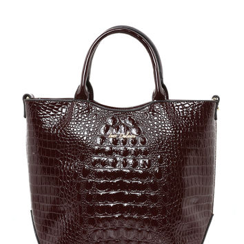 Burgundy Faux Croc Tote Bag