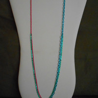 30 inch long Chain Layering Necklace, Green, Turquoise and Hot Pink    N-1188