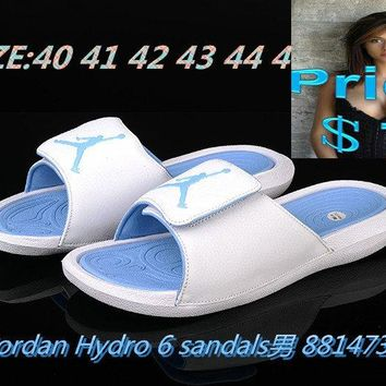 nike shoes men's casual mens Air Jordan Hydro 6 sandals slide slipper white-blue shoes