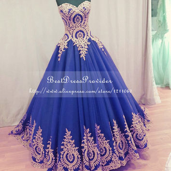 Real Sample Long Evening Dress 2017 Ball Gown Sweetheart Formal Dresses Gold Lace Royal Blue Women Evening Gowns