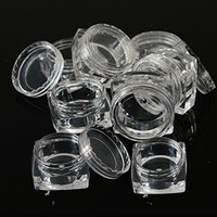 20pcs Portable Plastic Clear Cosmetic Empty Jar Pot Box Makeup Nail Art Cosmetic Bead Storage Container Square Bottle LA415