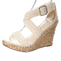 Crochet Lace Braided Wedges - Beige from Sandals at Lucky 21 Lucky 21