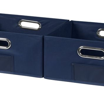 Niche Cubo Set of 2 Half-Size Foldable Fabric Storage Bins- Blue