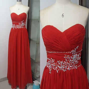 Sweetheart Neckline Pleated Bodice Chiffon With Beading Long Prom Dress Formal Evening Dress