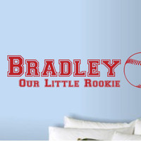 Our Little Rookie Baseball Vinyl Wall Art Decal for Baby Nursery or Child's Room