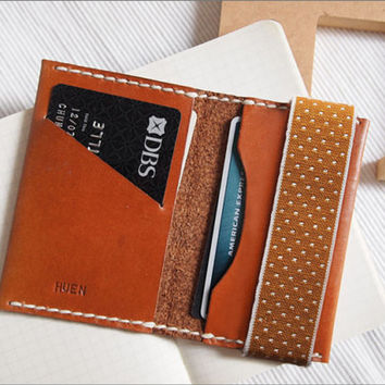 Personalized Leather Card Holder with Elastic Band