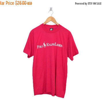 Closing Sale / 70% Off Vintage POLO Ralph Lauren Hot Pink Screen Stars 50/50 T-Shirt, Made in USA