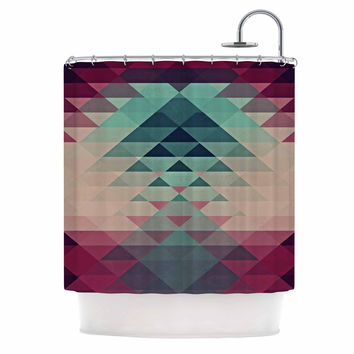 "Nika Martinez ""Hipster"" Maroon Teal Shower Curtain"