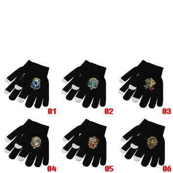 Harri Potter Deathly Hallows Hogwarts Gryffindor Slytherin Ravenclaw Hufflepuff Symbol Knitted Gloves Cosplay Costume Gift Cool